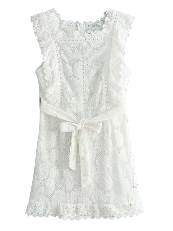 'Harlow' Lace Sleeveless Waist Tied Mini Dress
