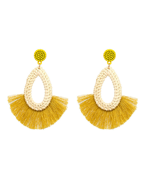 'Keira' Rattan Fringe Earrings (5 Colors)