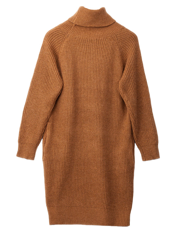'Tiffany' Turtleneck Long Sweater Dress with Pockets (3 Colors)