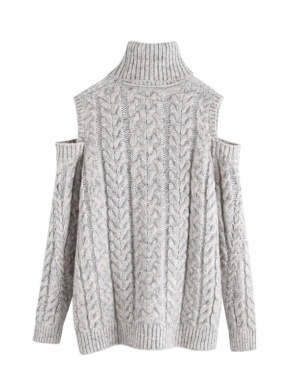 'Leda' Cut-out Shoulder Cable Knit Sweater