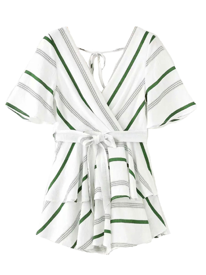 'Remi' Open Back V Neck Striped Waist Tied Romper (2 Colors)