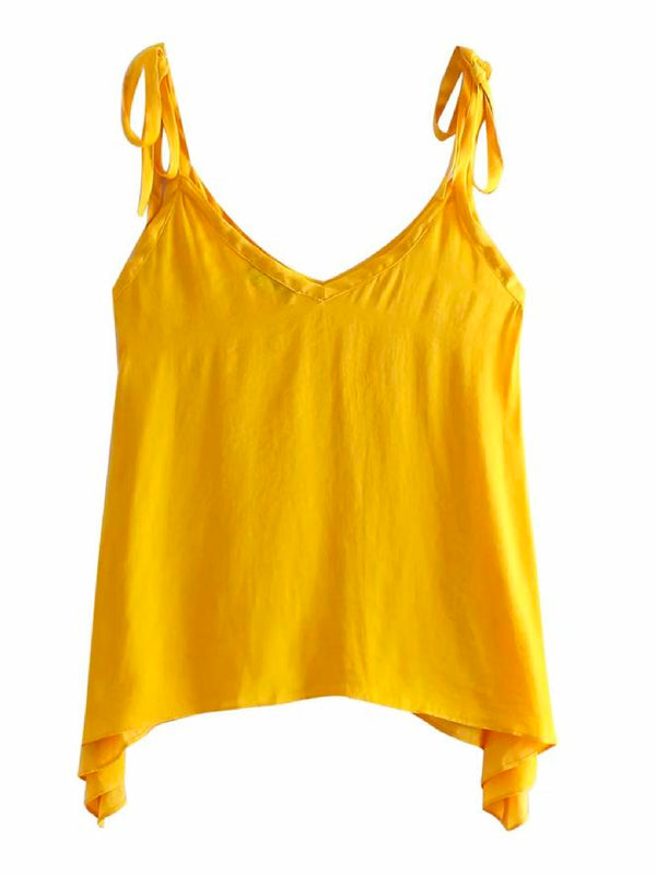 'Leila' Yellow Tied Straps Cami Top