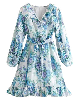'Lila' Blue Floral Waist Tied Frill Hem Mini Dress