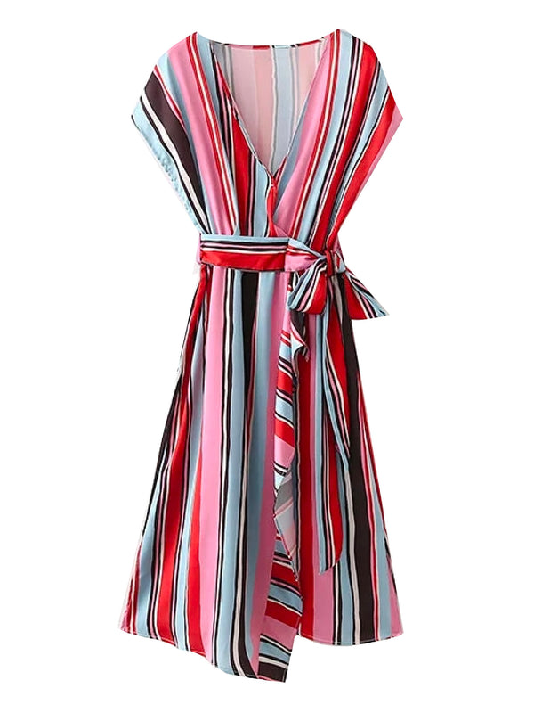 'Daniela' Colorful Striped V Neck Tied Waist Midi Dress