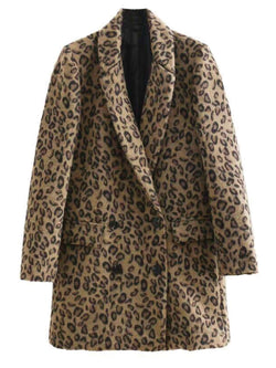 'Deliz' Leopard Lapels Double Breasted Coat