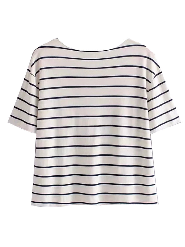 'Payton' Striped V Neck T-Shirt