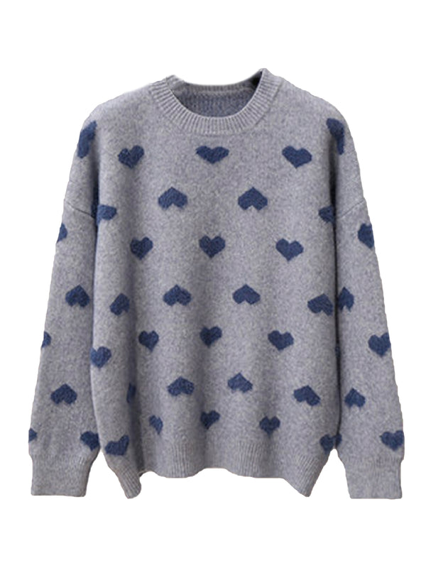 'Angela' Fleece Heart Pattern Sweater (2 Colors)