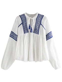 'Zoe' Embroidered Tassel Blouse