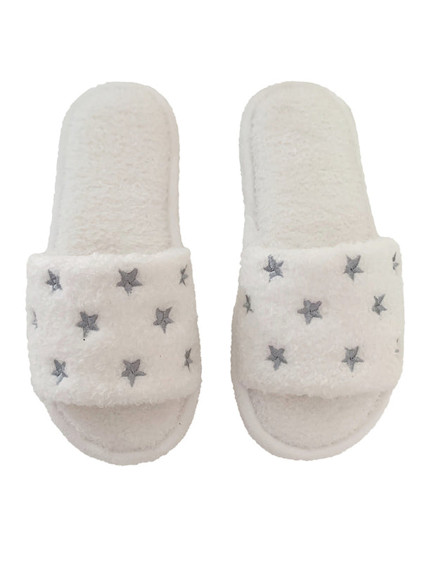 'Morganne' Star Print Faux Fur Slippers (2 Colors)