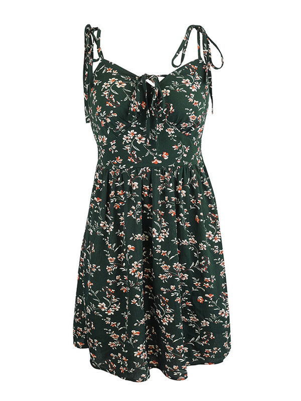 'Rebecca' Floral Print Strap Tied Mini Dress (3 Colors)