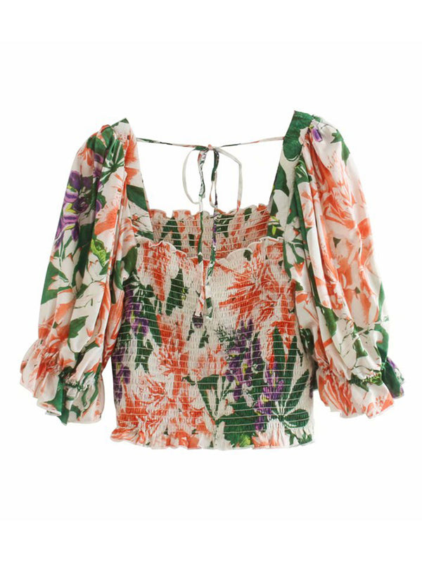 'Fiona' Floral Print Square Neck Puff Sleeve Top