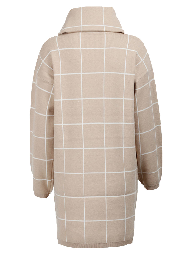 'Norah' Turtleneck Checked Sweater Dress (2 Colors)