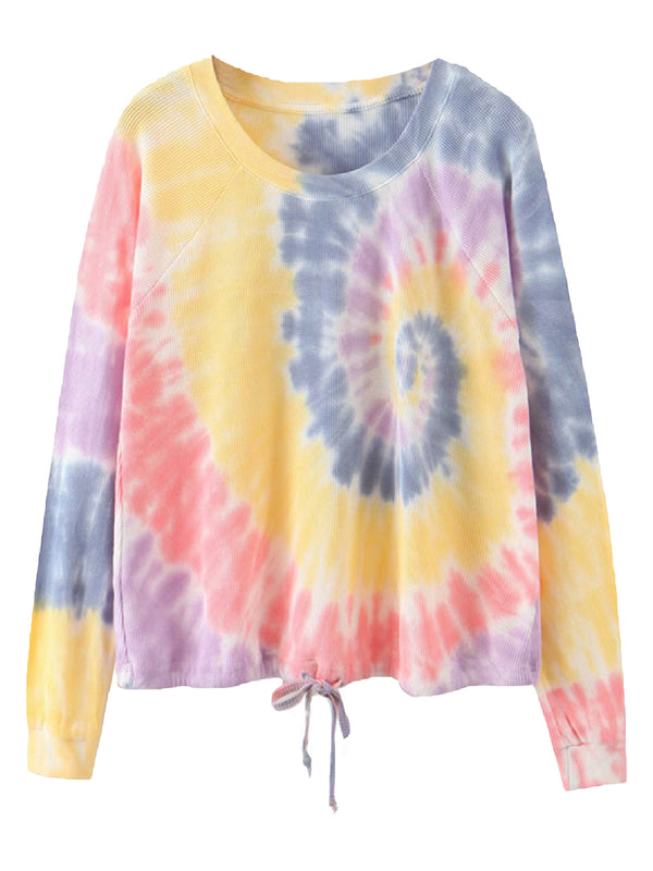 'Nora' Tie Dye Tie Bottom Sweatshirt (2 Colors)