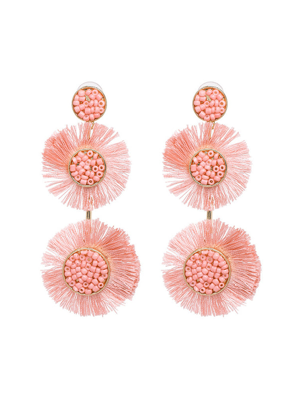 'Tamara' Tassel Bead Drop Earrings (7 Colors)