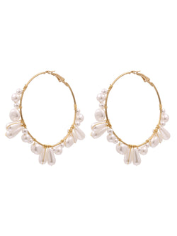 'Christine' Irregular White Beads Hoop Earrings