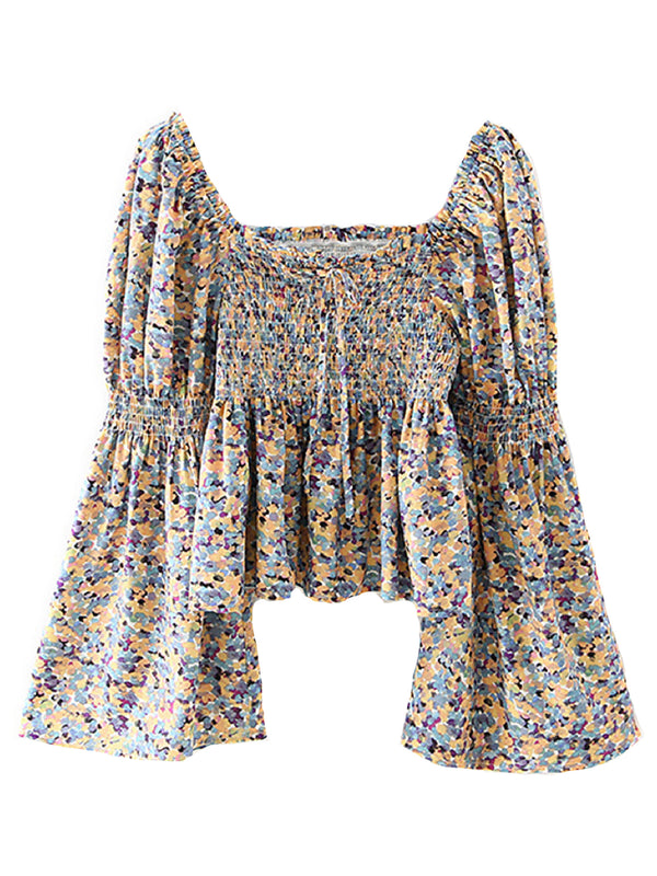 'Sharon' Floral Print Square Neck Bell Sleeves Top