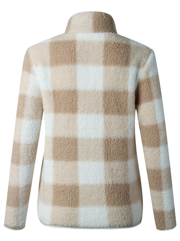 'Eliana' Checkered Fleece Jacket