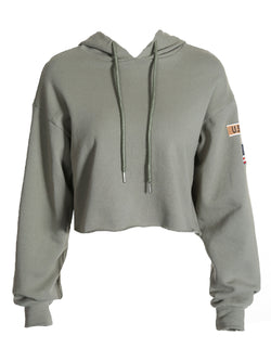 'Courtney' USA Logo Raw Hem Hoodie