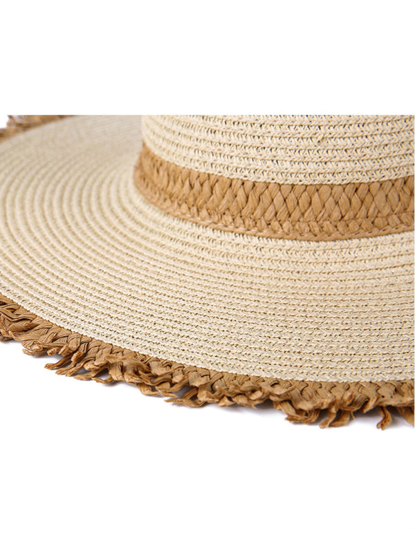 'Shana' Rattan Brown Raw Hem Hat