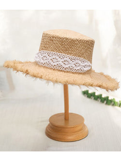 'Taryn' Rattan Satin-trimmed Hat (2 Colors)