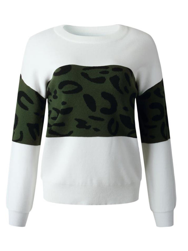 'Elva' Leopard Print Colorblock Sweater (4 Colors)