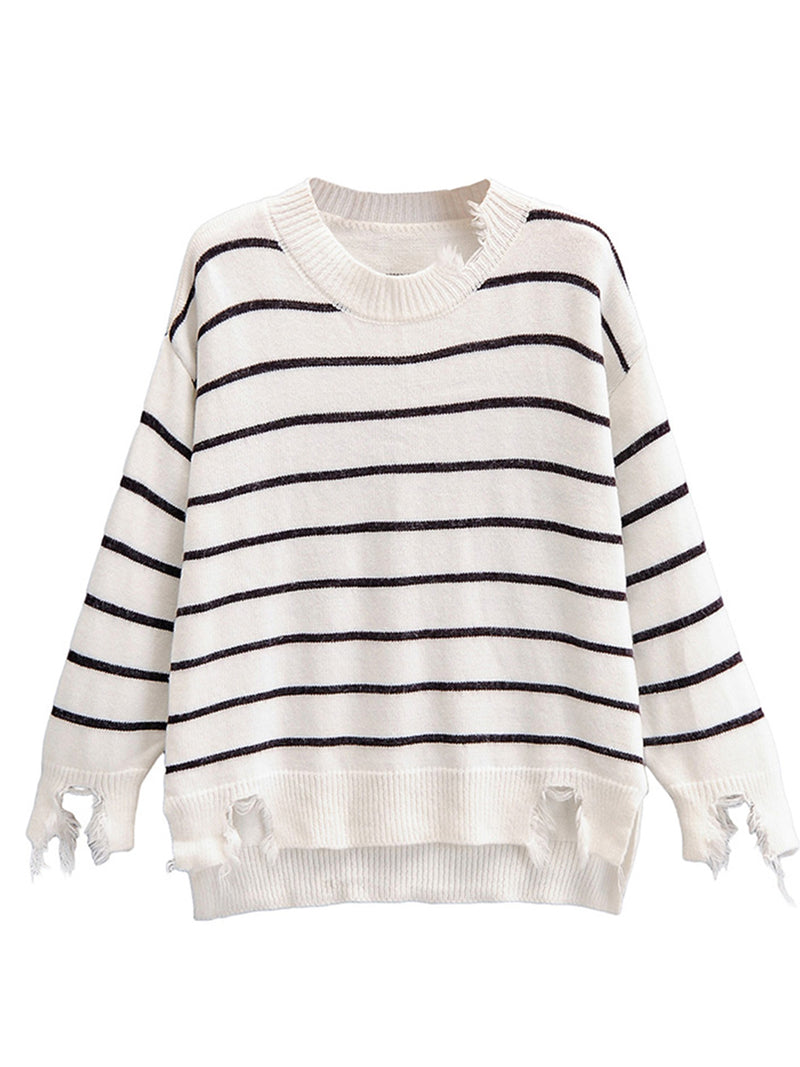 'Gail' Striped Distressed Sweater