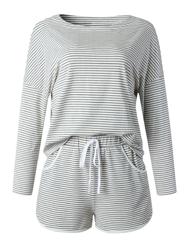'Jessica' Striped Long Sleeves PJ Set