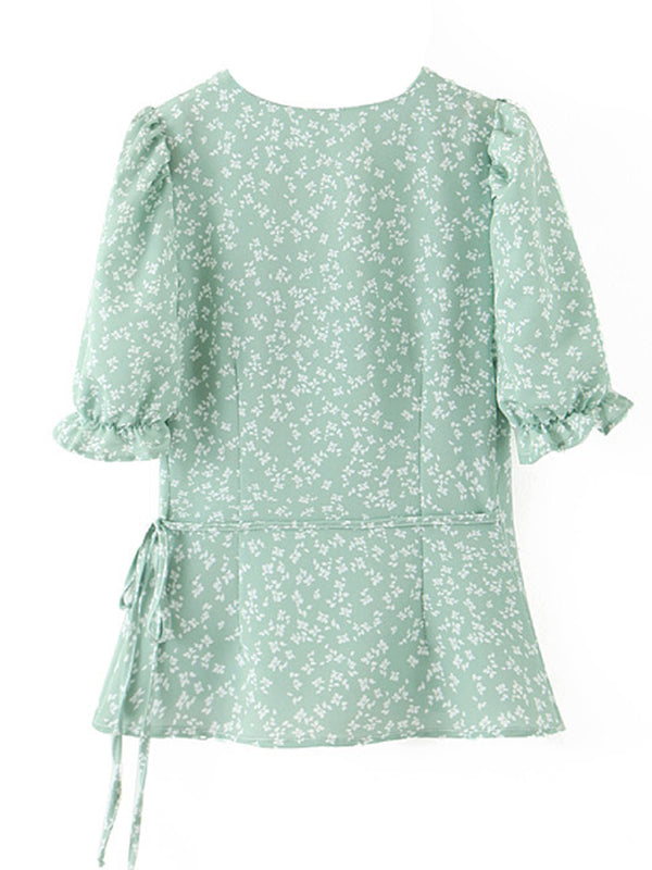 'Emma' Floral Puff Sleeves Wrap Top