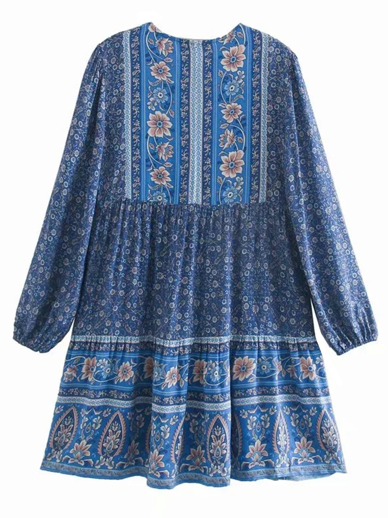 'Esther' Bohemian Print Tassel Dress (2 Colors)