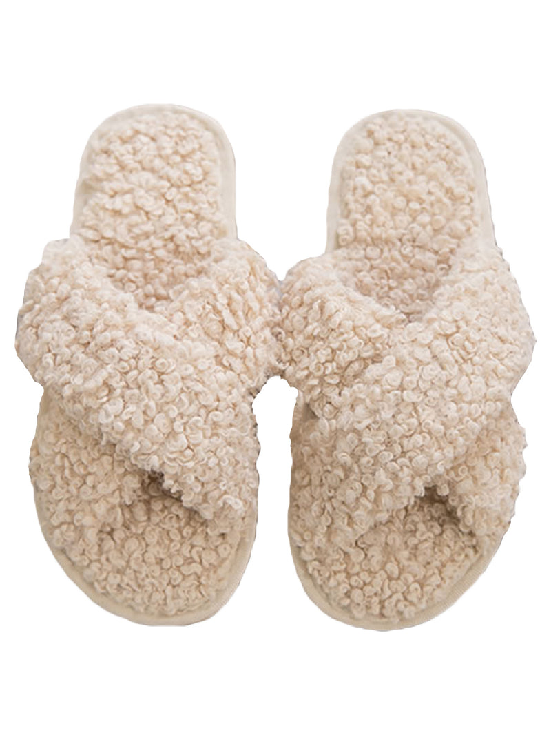 'Iris' Soft Knit Criss Cross Slippers (3 Colors)