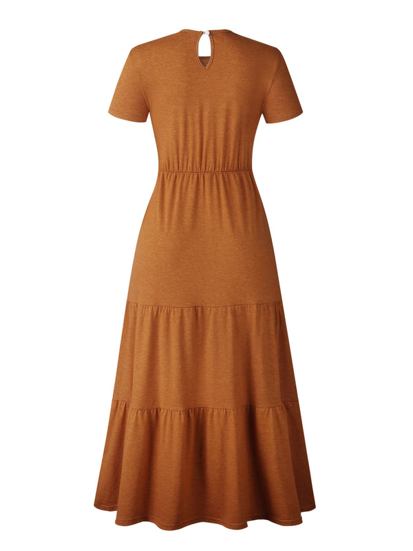 'Mila' Cotton Wrinkled Waist Maxi Dress (3 Colors)