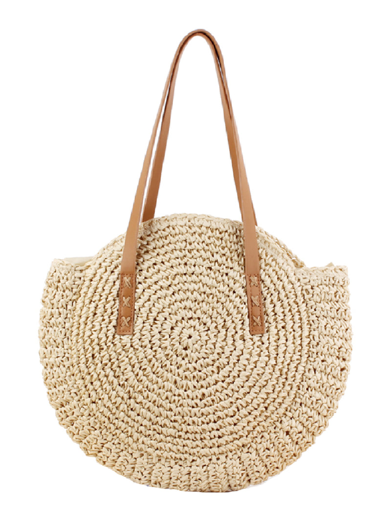 'Jessica' Rattan Round Oversized Beach Tote Bag (2 Colors)