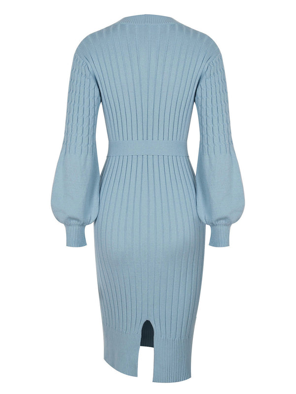 'Lindsey' Cable Knit Tied Waist Midi Dress
