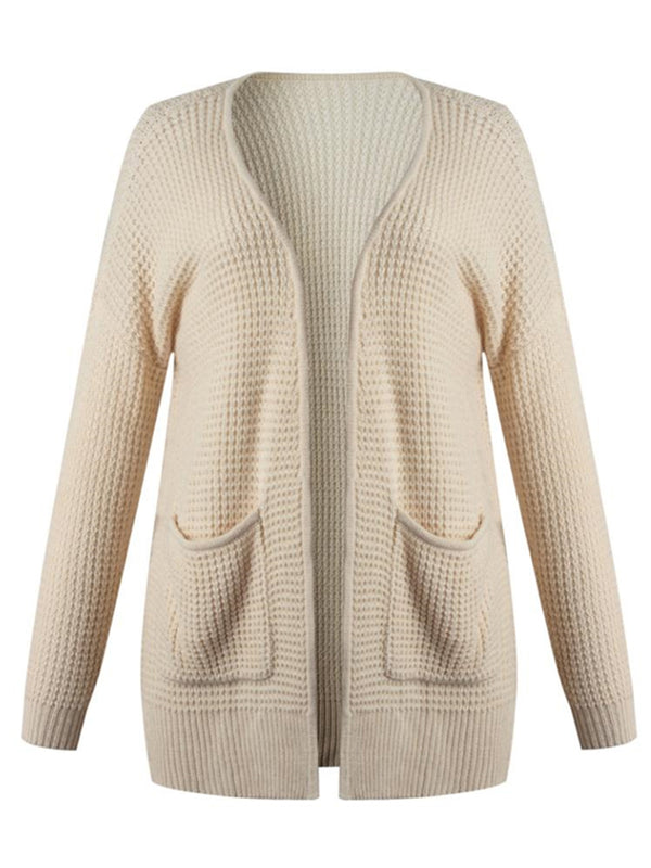'Kendall'' Waffle Knit Open Cardigan with Pockets (4 Colors)