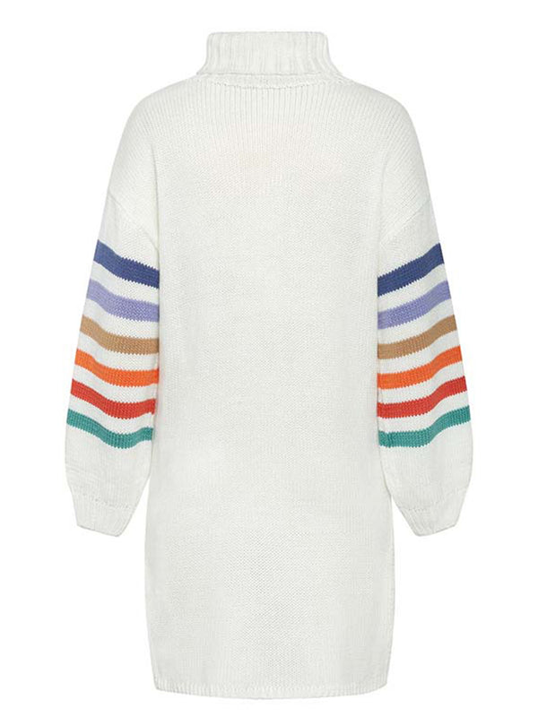 'Maya' Turtleneck Rainbow Striped Sweater Dress (2 Colors)