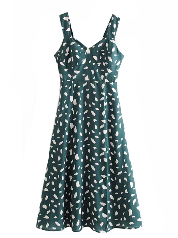 'Pamela' Dotted Print Midi Dress