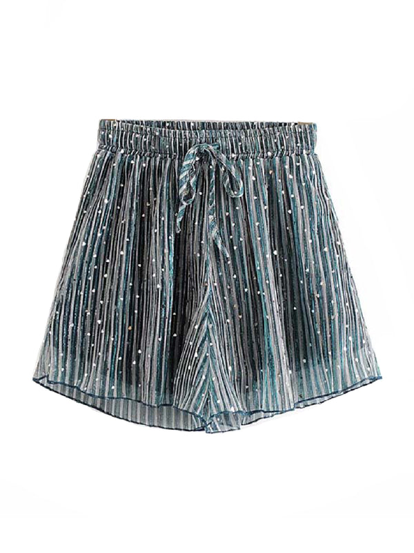 'Stephanie' Sequinned Heart Tied Wasit Shorts
