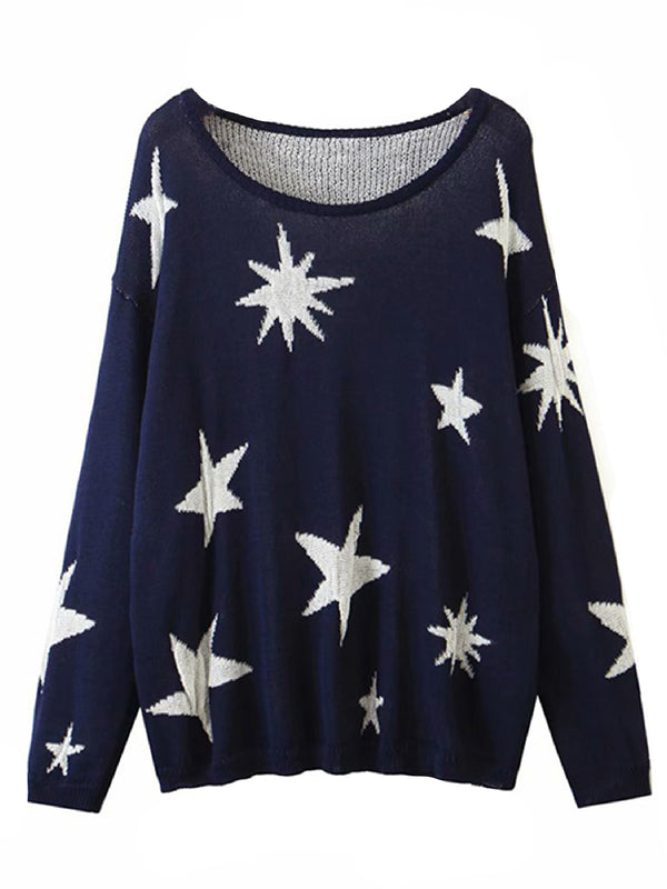'Lisa' Star Pattern Lightweight Sweater