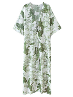 'Robin' Longline Front Tied Leaf Printed Kimono