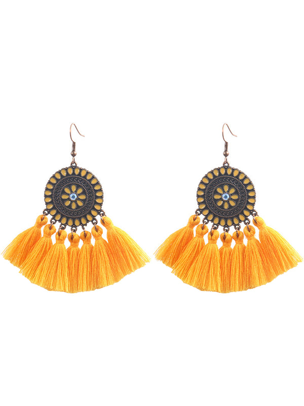 'Joanna' Sunflower Tassel Earrings
