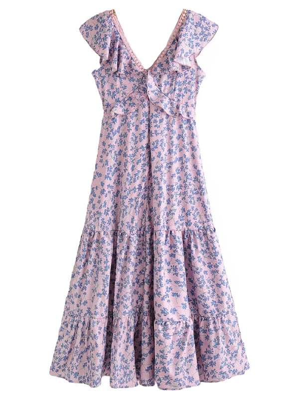 'Iris' Floral Print V-Neck Ruffled Maxi Dress
