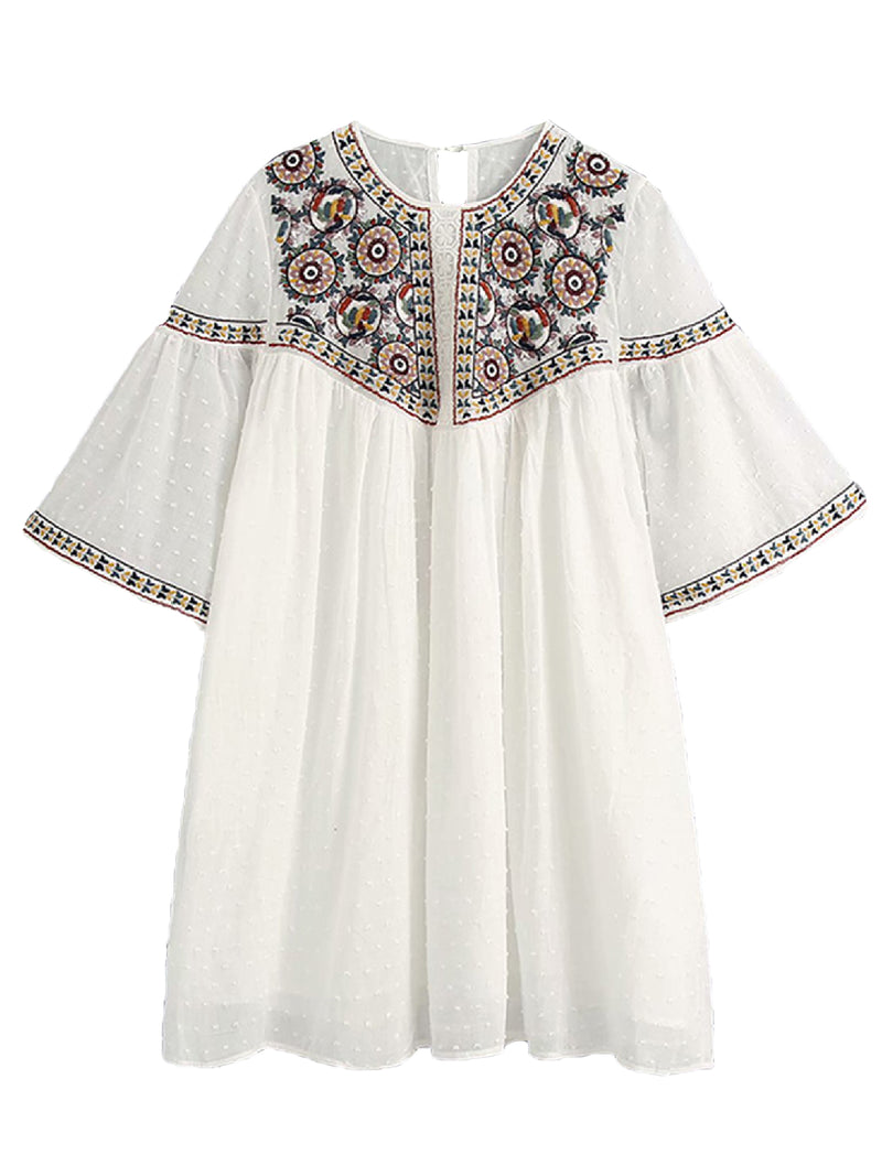 'Yanny' Embroidered Chiffon Mini Dress