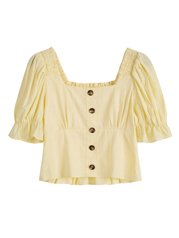 'Emma' Button Down Ruched Top (2 Colors)
