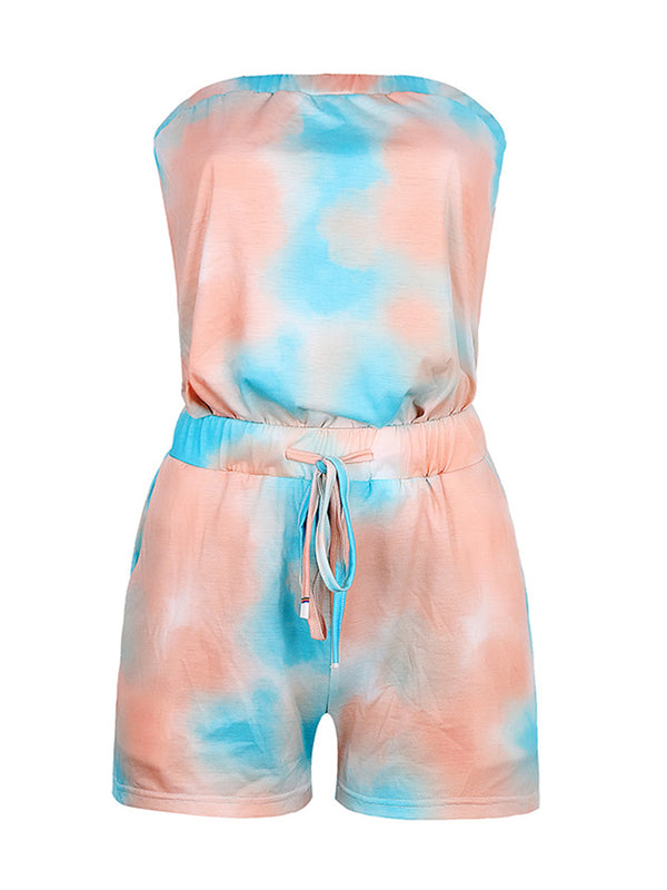 'Trista' Off The Shoulder Tie Dye Tied Waist Romper (2 Colors)