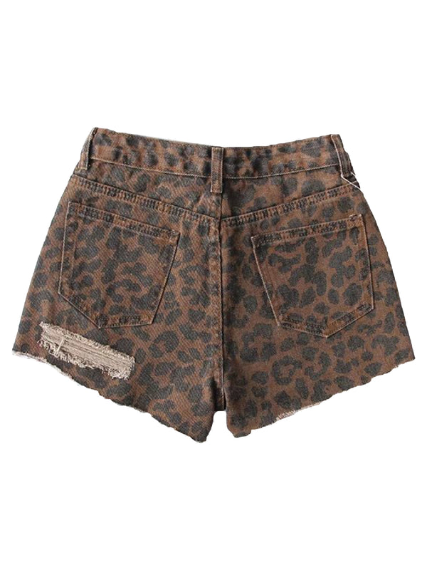 'Adelle' Leopard Print Distressed Denim Shorts