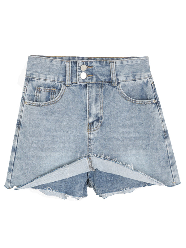 'Stacey' 2 Buttons High Waisted Distressed Denim Skirt Pants (2 Colors)