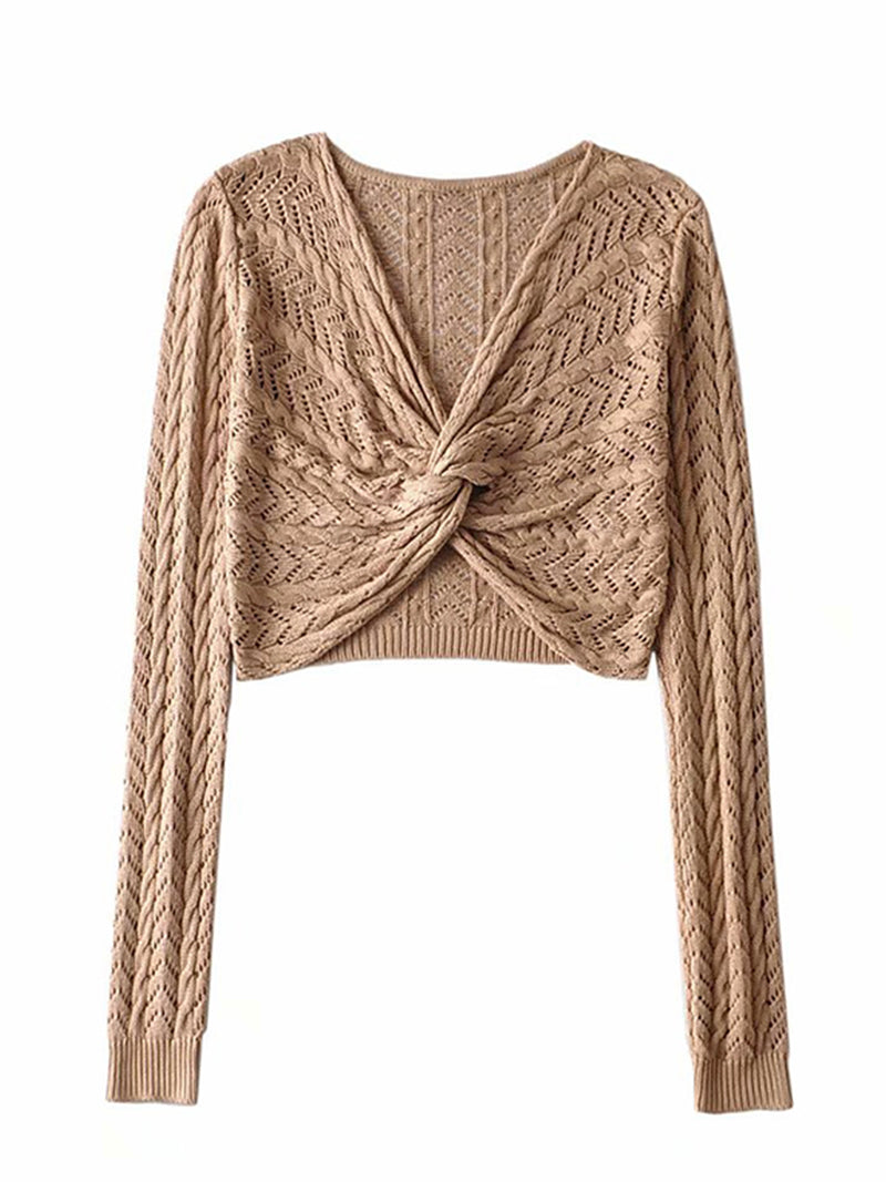 'Patti' Twisted Front Knit Wrapped Top (3 Colors)