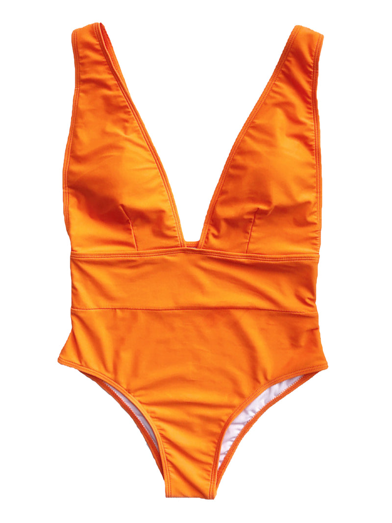 'Samantha' Plunge Neck Swimsuit (5 Colors)