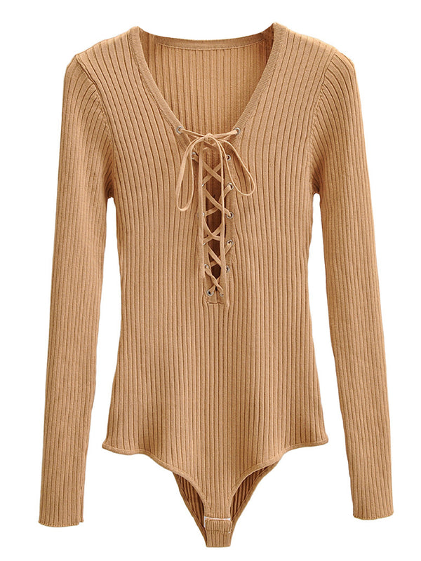 'Sabrina' Lace-up Long Sleeves Bodysuit (4 Colors)
