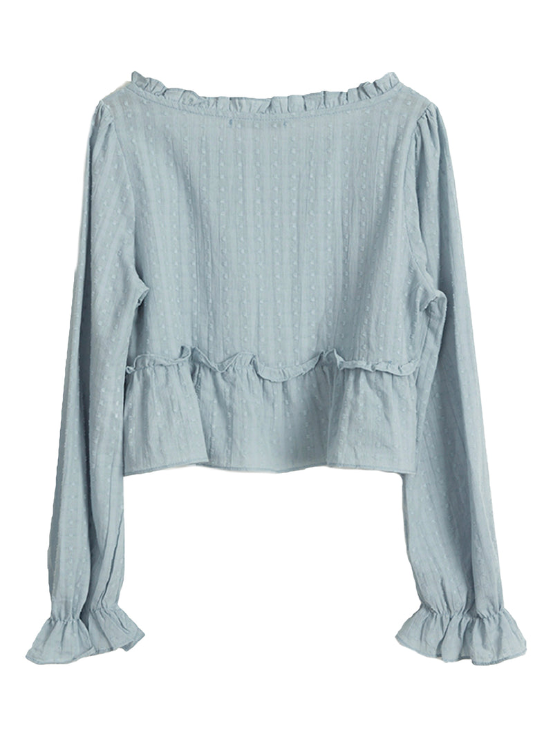 'Tory' Chiffon Square Neck Ruffled Top (2 Colors)